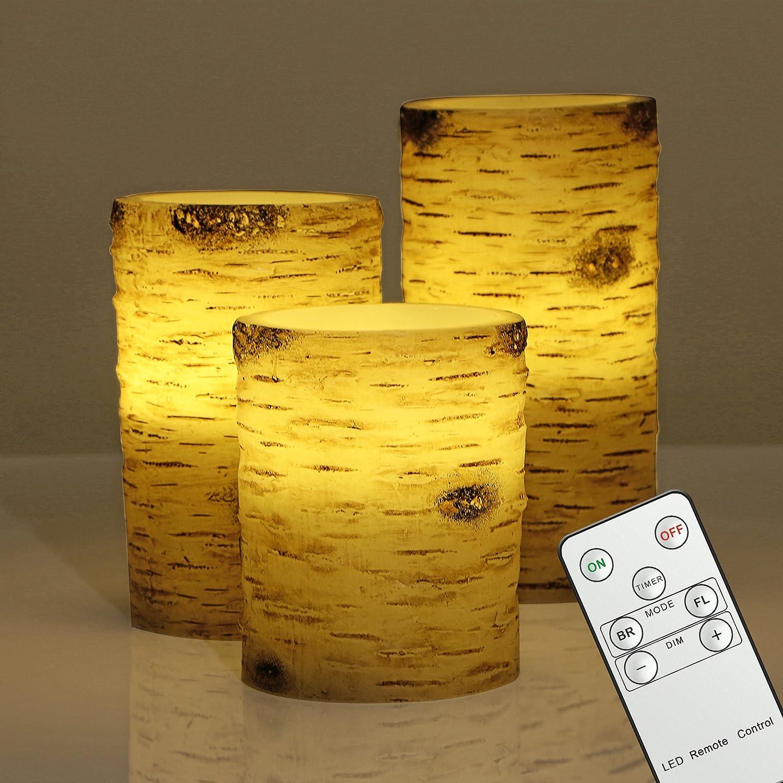 3er LED Kerzen Echtwachskerze mit Timer & Fernbedienung, Dimmbar, Flammenlose Batterie im Birkenstämme Design (Leuchtdauer von 100 Stunden, Warmweiß) 10cm, 12,5cm, 15cm Warmweiß) 10cm JINHUA RISING CANDLES CO. LTD RS-8002