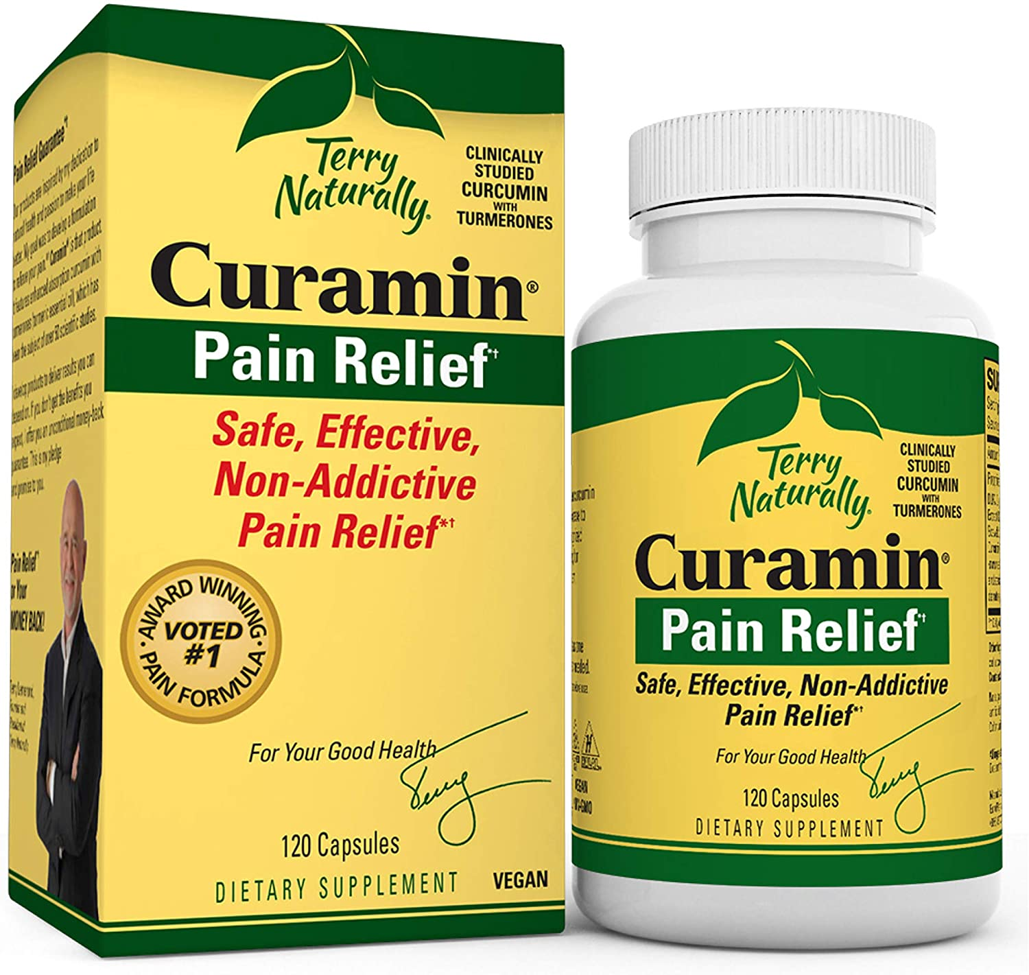 Terry Naturally Curamin - 120 Vegan Capsules - Non-Addictive Pain Relief Supplement with Curcumin from Turmeric, Boswellia & DLPA - Non-GMO, Gluten-Free - 40 Servings: Health & Personal Care