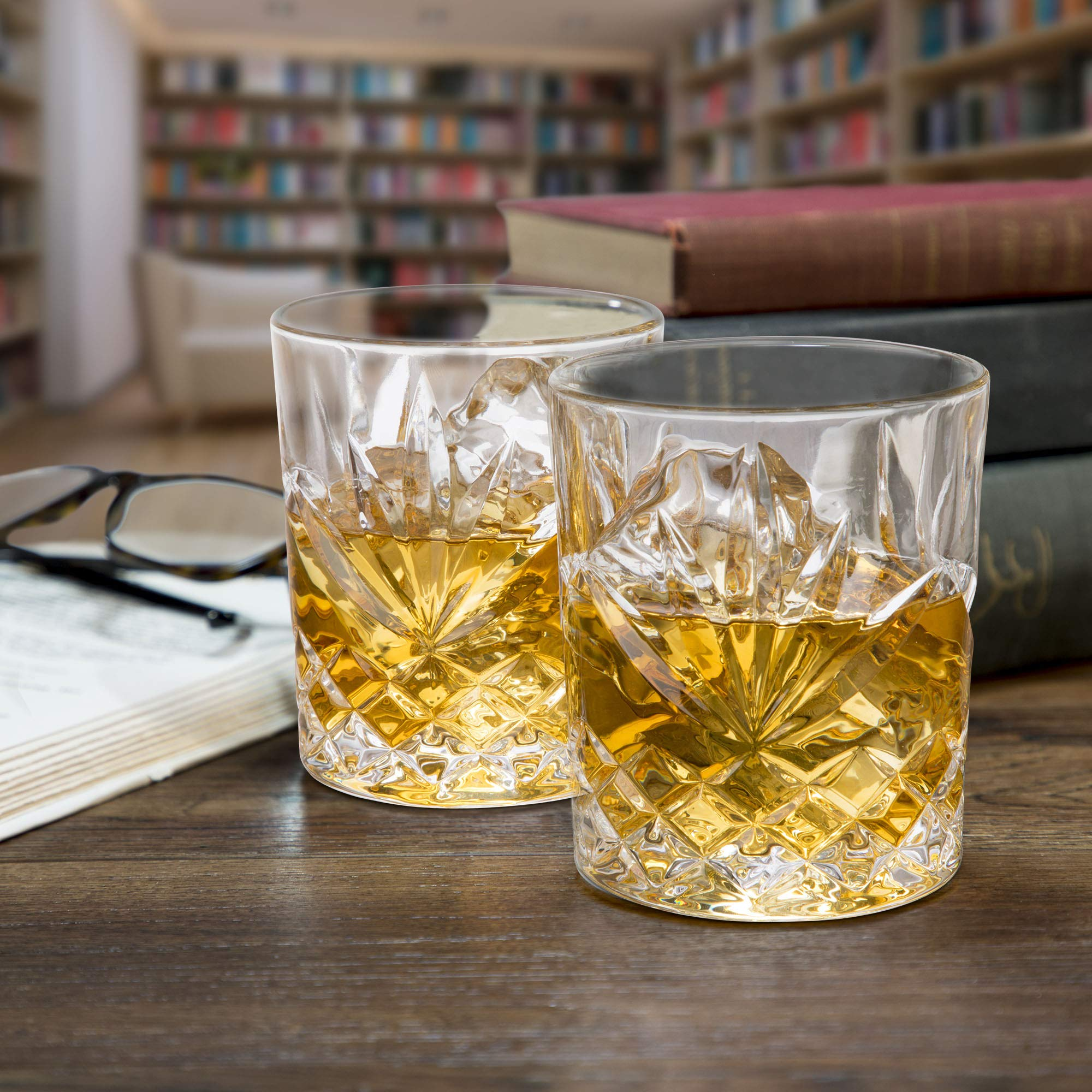 Elegant Whiskey Glass Set of 2 in a Spectacular Gift Box by Regal Trunk & Co. | 10 Oz Old Fashioned Lead Free Whiskey Glasses Set for Whisky Bourbon Scotch or Rum | Perfect Gift | Diamond Cut Design by Regal Trunk & Co.