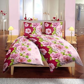 Bertels Textilhandels GmbH Mikrofaser Bettw/äsche Wende 135x200 cm 2tlg Spruch Blumen pink