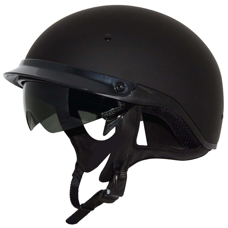 ZOX Roadster DDV Gloss Black Motorcycle Half Helmet w// Easy Pull Smoke Shield XL