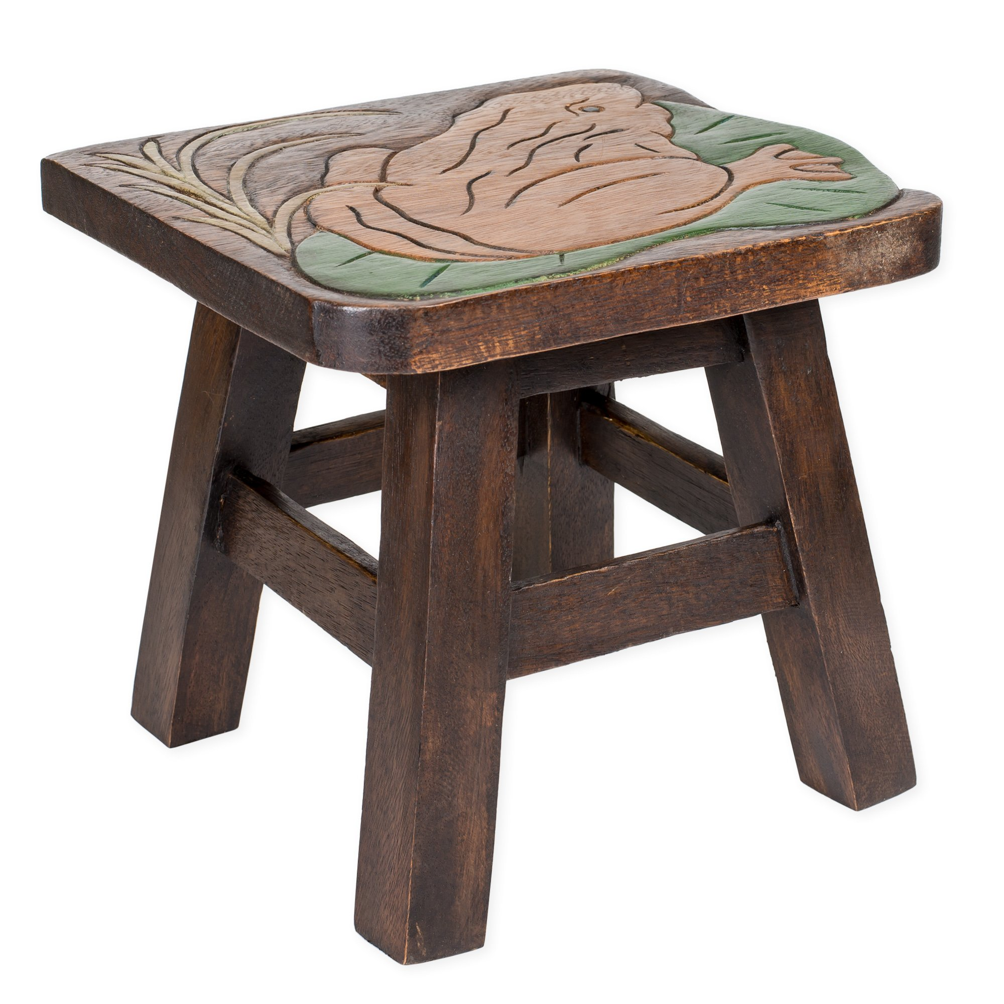 Frog Lillypad Design Hand Carved Acacia Hardwood Decorative Short Stool