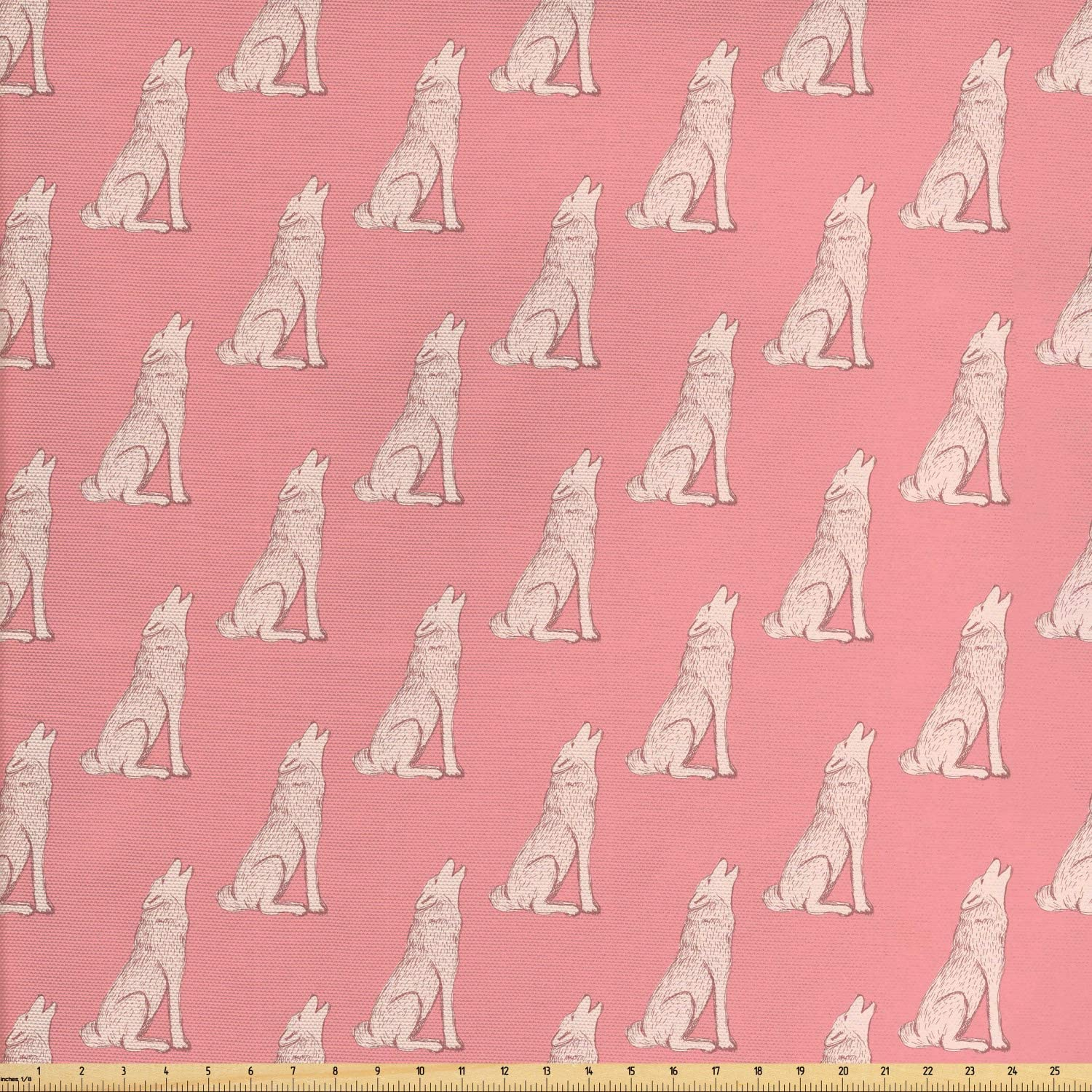 Ambesonne Animal Fabric by The Yard, Howling Wolf Sketch Style Vintage Look Design, Decorative Fabric for Upholstery and Home Accents, 1 Yard, Blush Eggshell