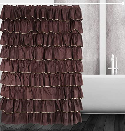 Amazon Dora Liz Brown Golden Ruffle Shower Curtain Fabric