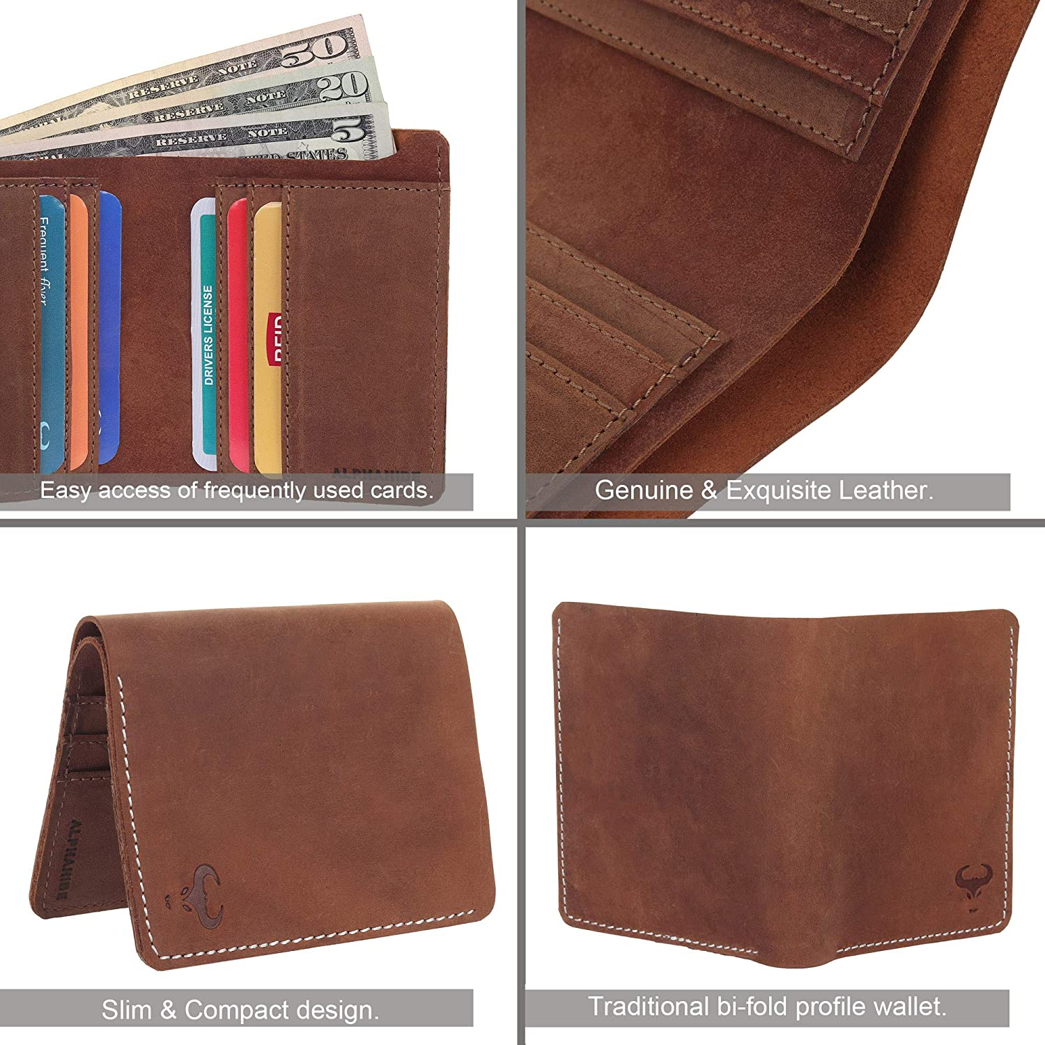 Natural strong hunter style vertical trifold genuine leather men/'s wallet HL
