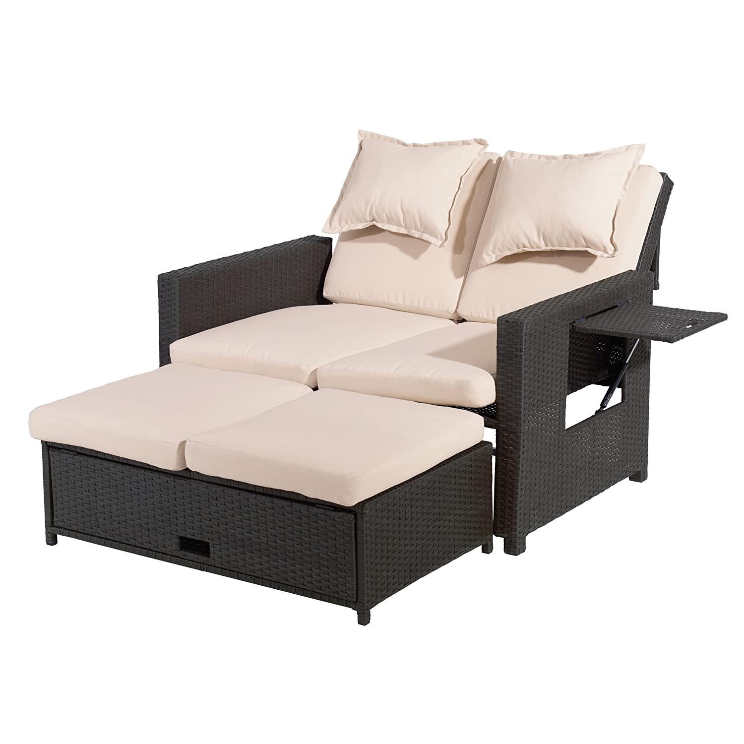 Amazon.de: greemotion 3-in-1 Rattan-Gartensofa Bahia in Braun ...
