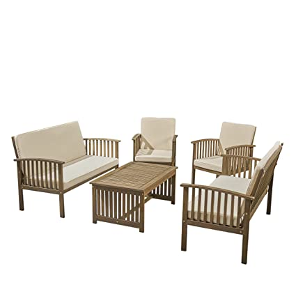 Fantastic Great Deal Furniture Carol Outdoor 5 Piece Acacia Wood Sofa Set Gray Finish And Cream Caraccident5 Cool Chair Designs And Ideas Caraccident5Info