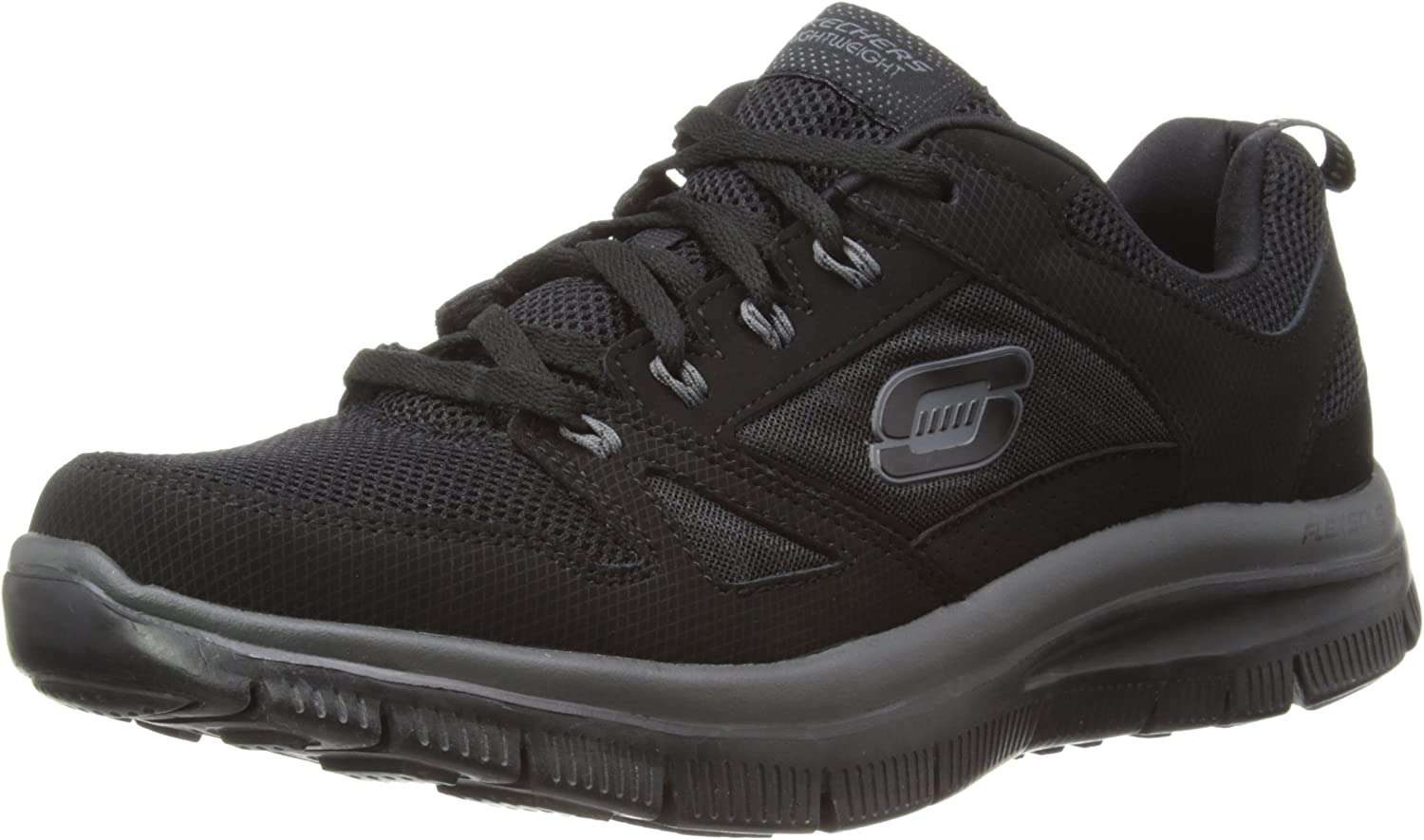 skechers memory foam black shoes