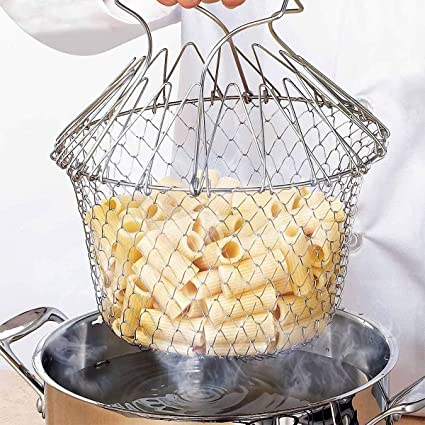 Epyz Chef Basket 12 in 1 Kitchen Tool for Cook, Deep Fry, Boiling Solid Steel