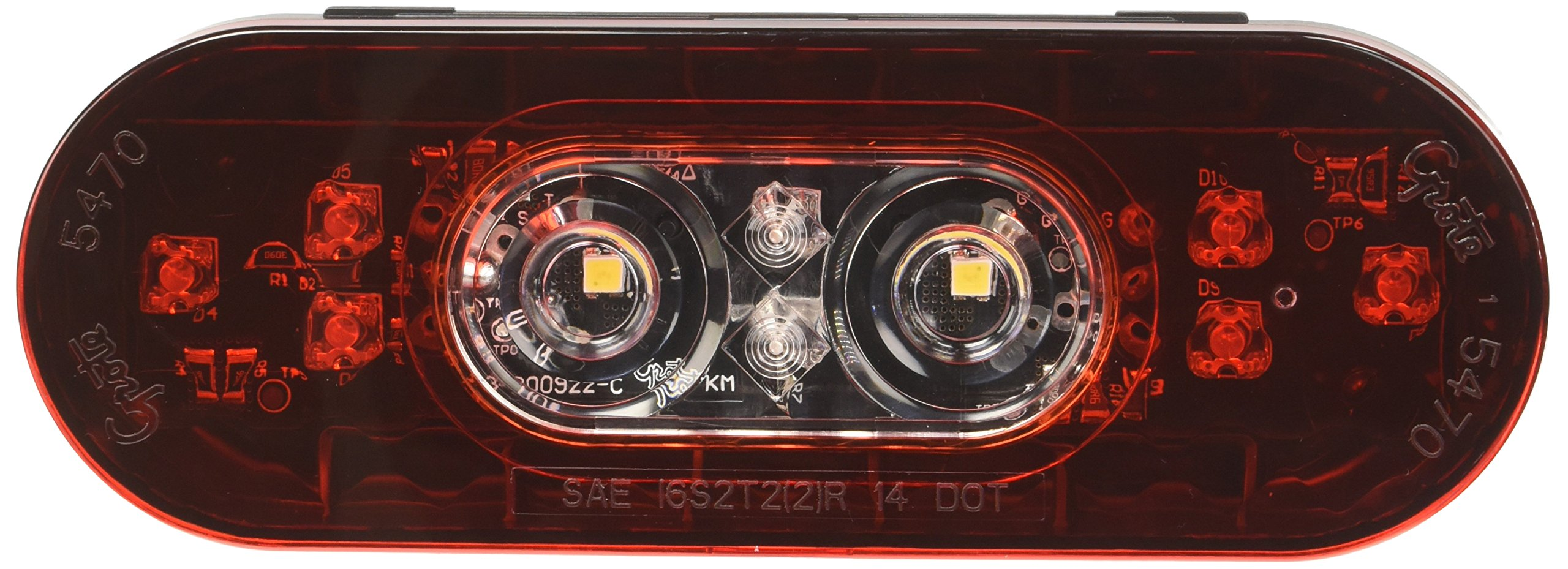 Grote 54672 6'' Oval LED Stop Tail Turn Light with Integrated Back-up (Male Pin Termination)