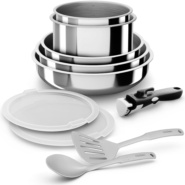 Backen 199910 - Set de ollas y sartenes - acero inoxidable - 10 piezas - inducción.: Amazon.es: Hogar