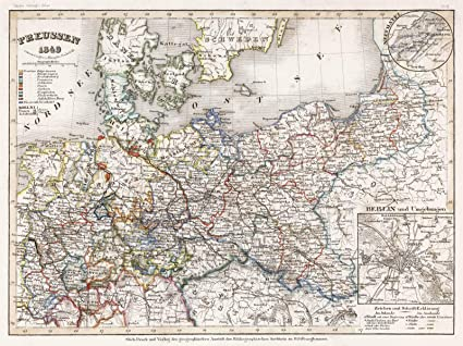 Map Of Holland And Germany.Amazon Com Historical 1849 Meyer Map Of Prussia Germany And The