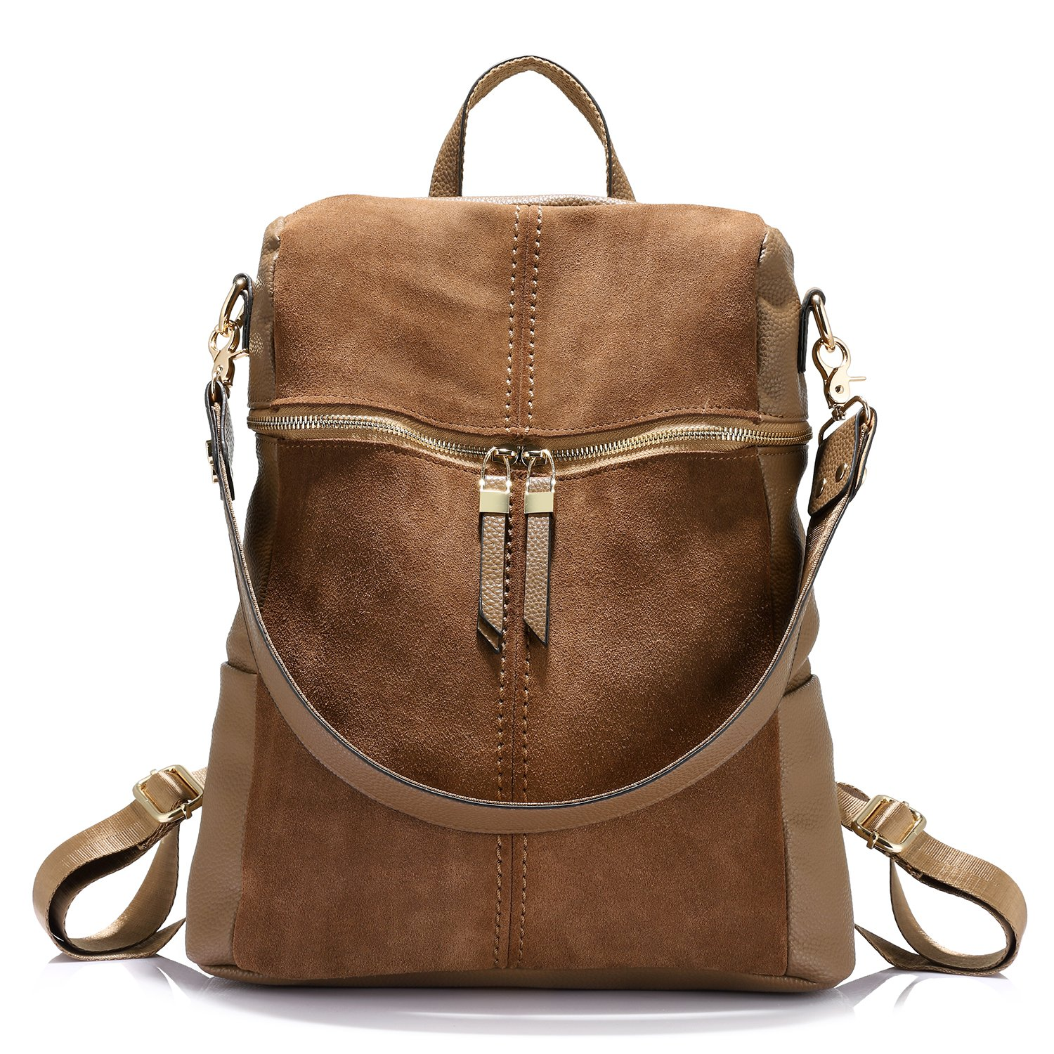 Backpack Shoulder Bag Purse Girls School Bag Casual Nubuck +Synthetic Leather Collage Style Khaki
