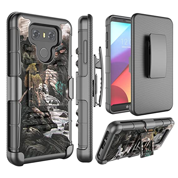 new product 45dd4 0fa63 LG G6 Case, Jeylly [Armor Shield] [Belt Swivel Clip] Holster with Kickstand  Heavy Duty Dual Layer Shockproof Hybrid Impact Protection Armor Defender ...