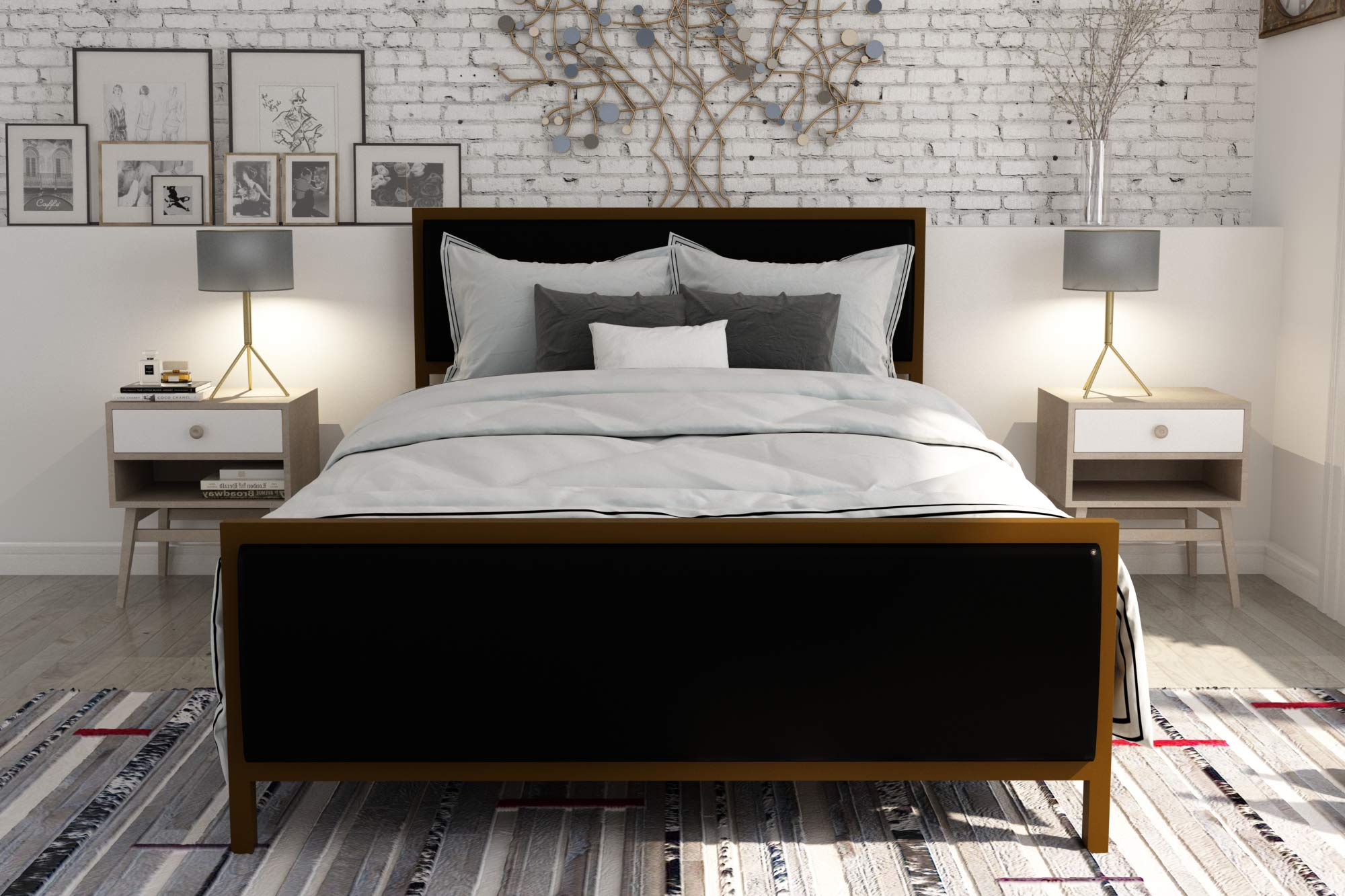 DHP Lennox Modern Design Black Faux Leather Upholstered and Gold Frame - Queen Size by DHP