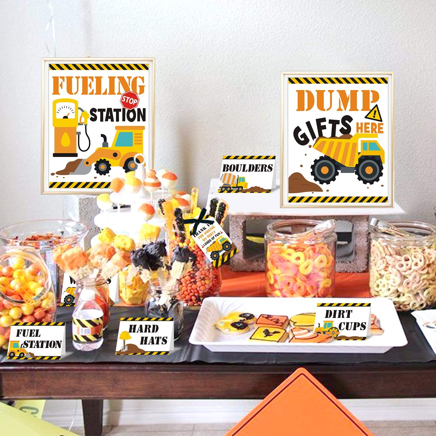 Construction Food Tent Cards Set - Construction Birthday Party Supplies - Construction Dessert Buffet Decorations Kit Kids Birthday Baby Shower Party Supplies