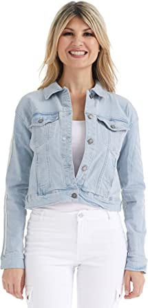 Womens Plus Size Denim Jackets Classic Vintage Long Sleeve Casual Stretch Button Down Cropped Jean Trucker Coat