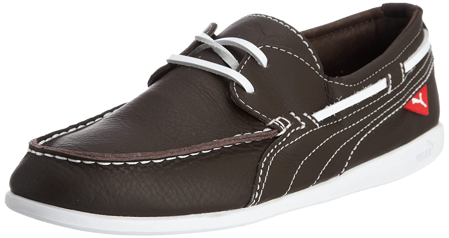 480aebe6cf3 Puma Men s Yacht L Chocolate Brown and White Leather Running Shoes - 9  UK India (43 EU)  Buy Online at Low Prices in India - Amazon.in
