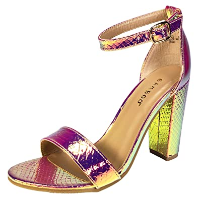 d4d0b8d961eb3 BAMBOO Women's Single Band Chunky Heel Sandal with Ankle Strap, Iridescent  Snake PU, 5.5