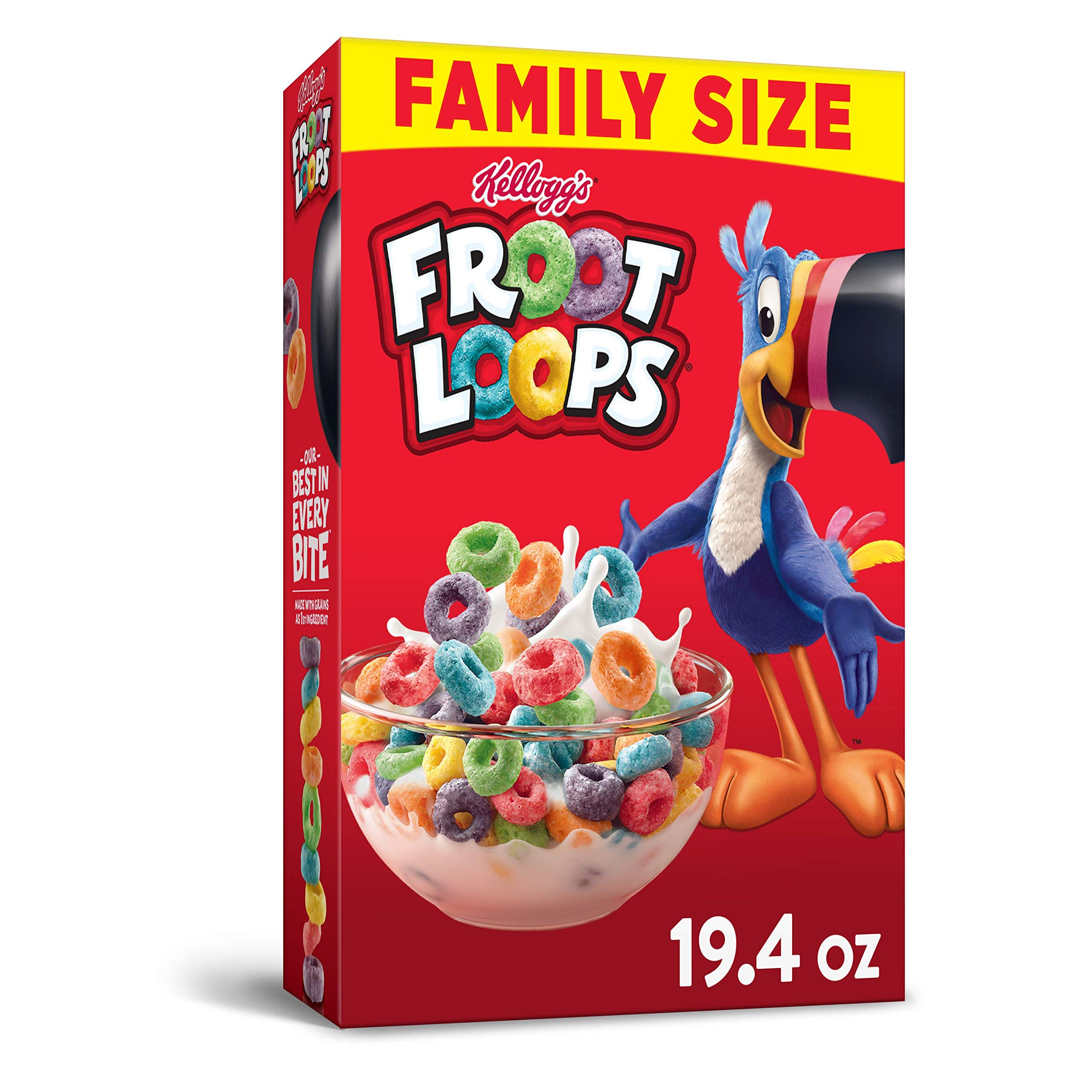 Kellogg's Froot Loops, Breakfast Breakfast Cereal, Original, Excellent Source of Vitamin C, Family Size, 19.4oz Box