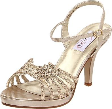 Dyeables Women's Leah Platform Sandal,Champagne Glitter,6 ...