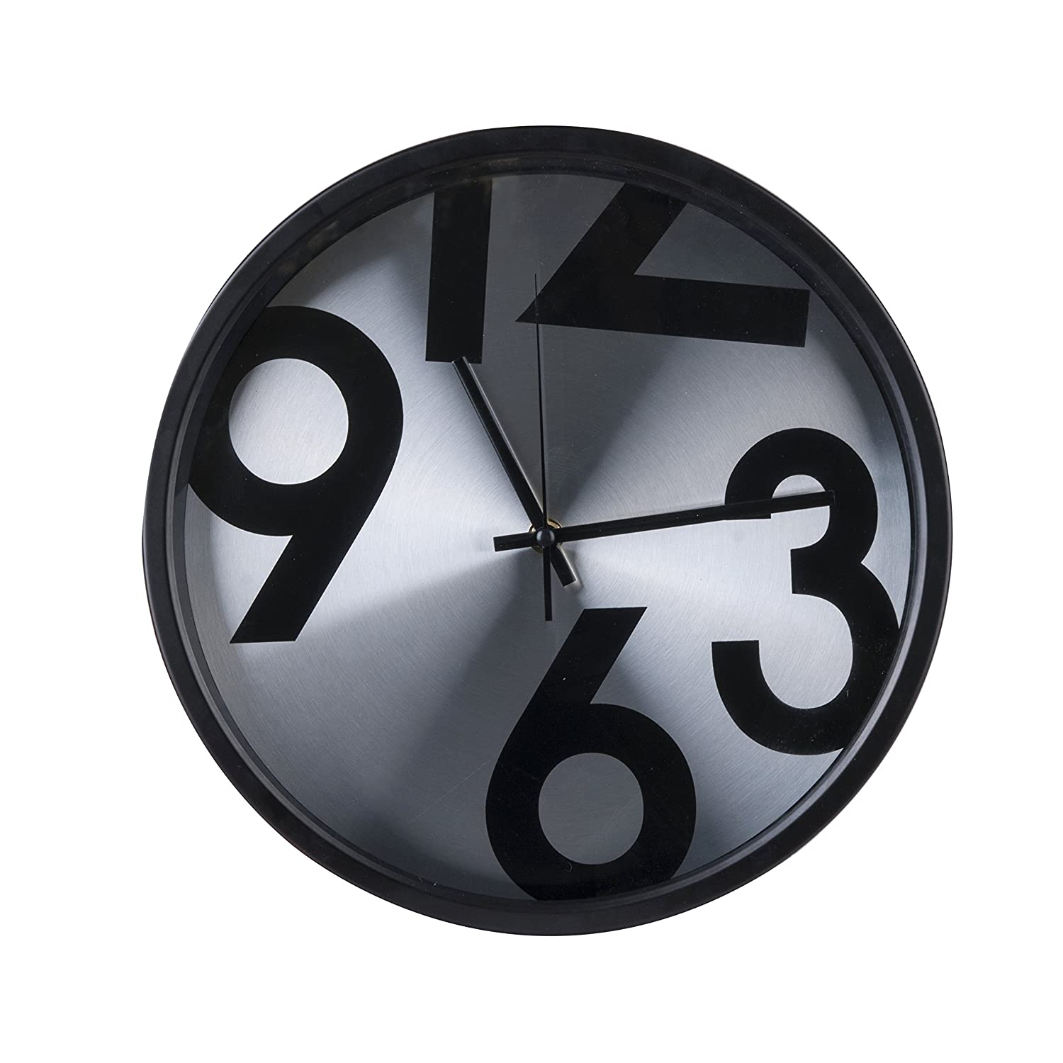 Amazon.com: Torch 14Inch Aluminum Glass Round Silent Wall Clock Decorative Design Clock (Bold Number): Home & Kitchen