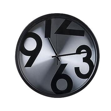 Torch 14Inch Aluminum Glass Round Silent Wall Clock Decorative Design Clock (Bold Number)