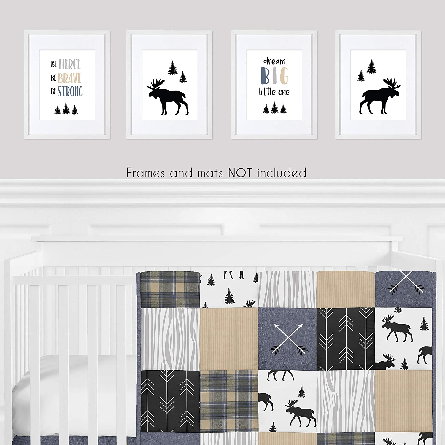 and Kids for Rustic Patch Collection Sweet Jojo Designs Blue Tan Grey and Black Woodland Moose Wall Art Prints Room Decor for Baby Nursery Set of 4 Dream Big Little One