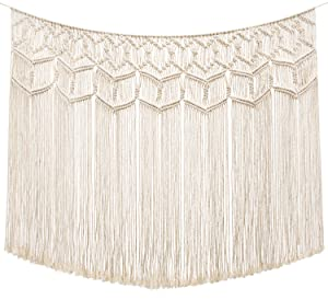 "Mkono Macrame Wall Hanging Curtain Fringe Garland Banner Boho Wall Decor Woven Home Christmas Decoration for Apartment Bedroom Living Room Gallery Nursery, 43"" L x 26"" W"