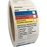 """SDS Stickers/MSDS Stickers, 1.5""""x2.5"""", Roll of 250, Right to Know - Chemical Identifying and Marking, Self Adhesive"""