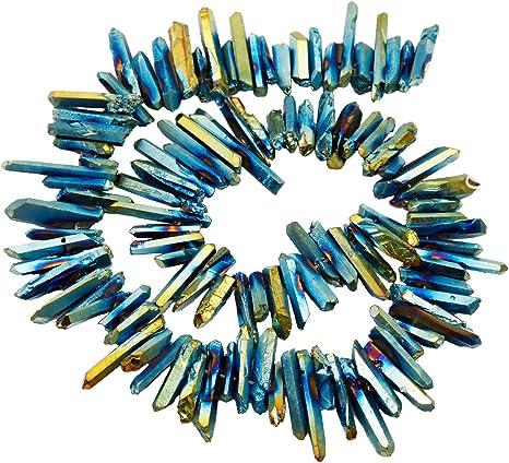 Black Metalic Quartz Beads Crystal Daggers Quartz Point Titanium Quartz Sticks Quartz Spike Beads 15 inches Strand Crystal Points Spikes