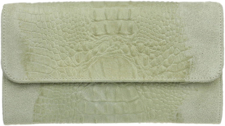 Girly Handbags Croc Suede Clutch Bag