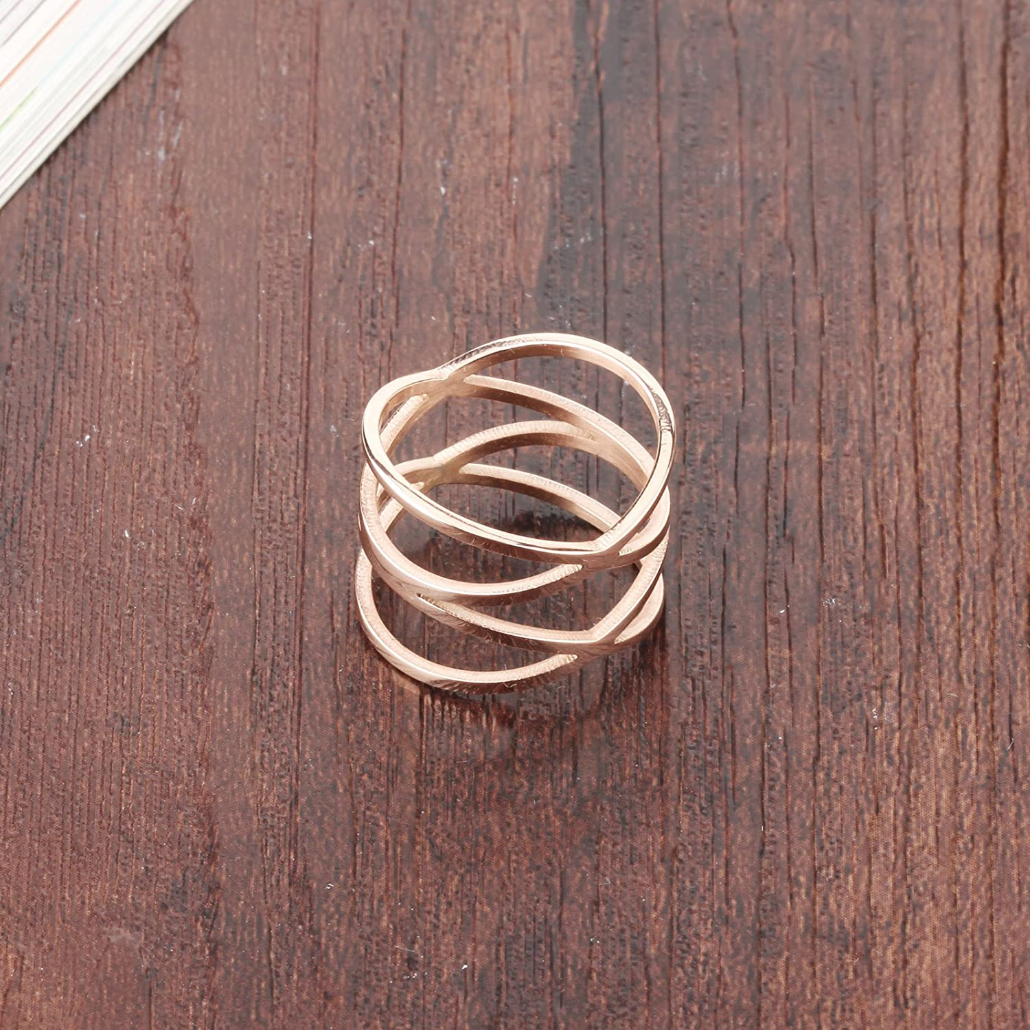 Women Cute Pinky Rings Rose Gold Plated Unique Double X Cross Stackable Stacking Thumb Tungsten Wedding Bands Cockatil Ring