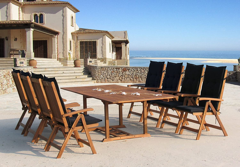 Garten Möbelgruppe Cuba 17tlg Premium Schwarz mit ausziehbaren Tisch