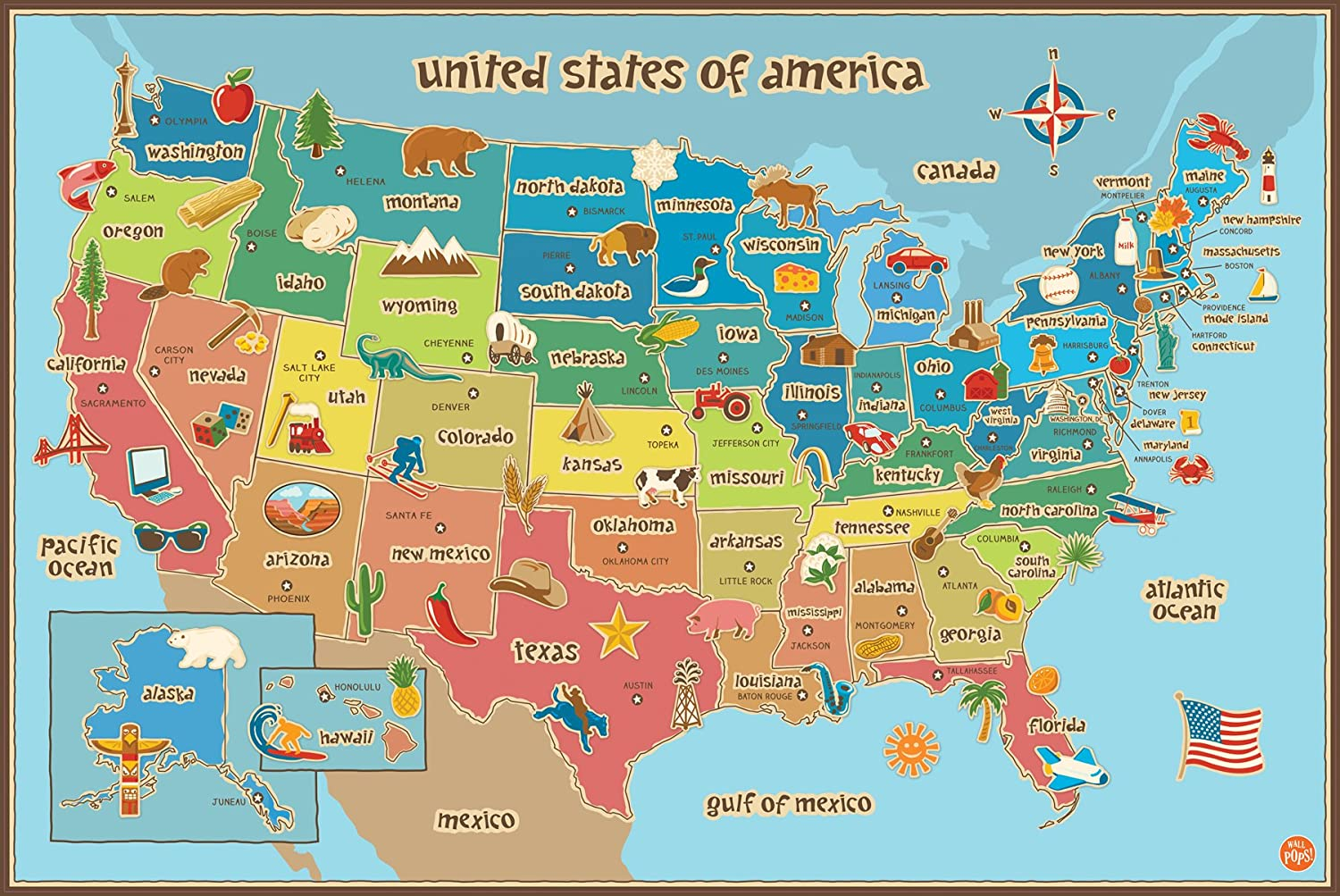 Amazoncom Wall Pops WPE Kids USA Dry Erase Map Decal Wall - Pictures of usa map