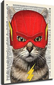 GREAT Modern Wall Poster Art Print Oil Painting on Canvas Home Decor Wall Decoration Canvas Art Lightning Cat, Superhero Kids Bedroom Wall Decor, Vintage Wall Art Upcycled Dictionary Art Print Poster For Kids Room (Unframed-No Framed,8×10inch)
