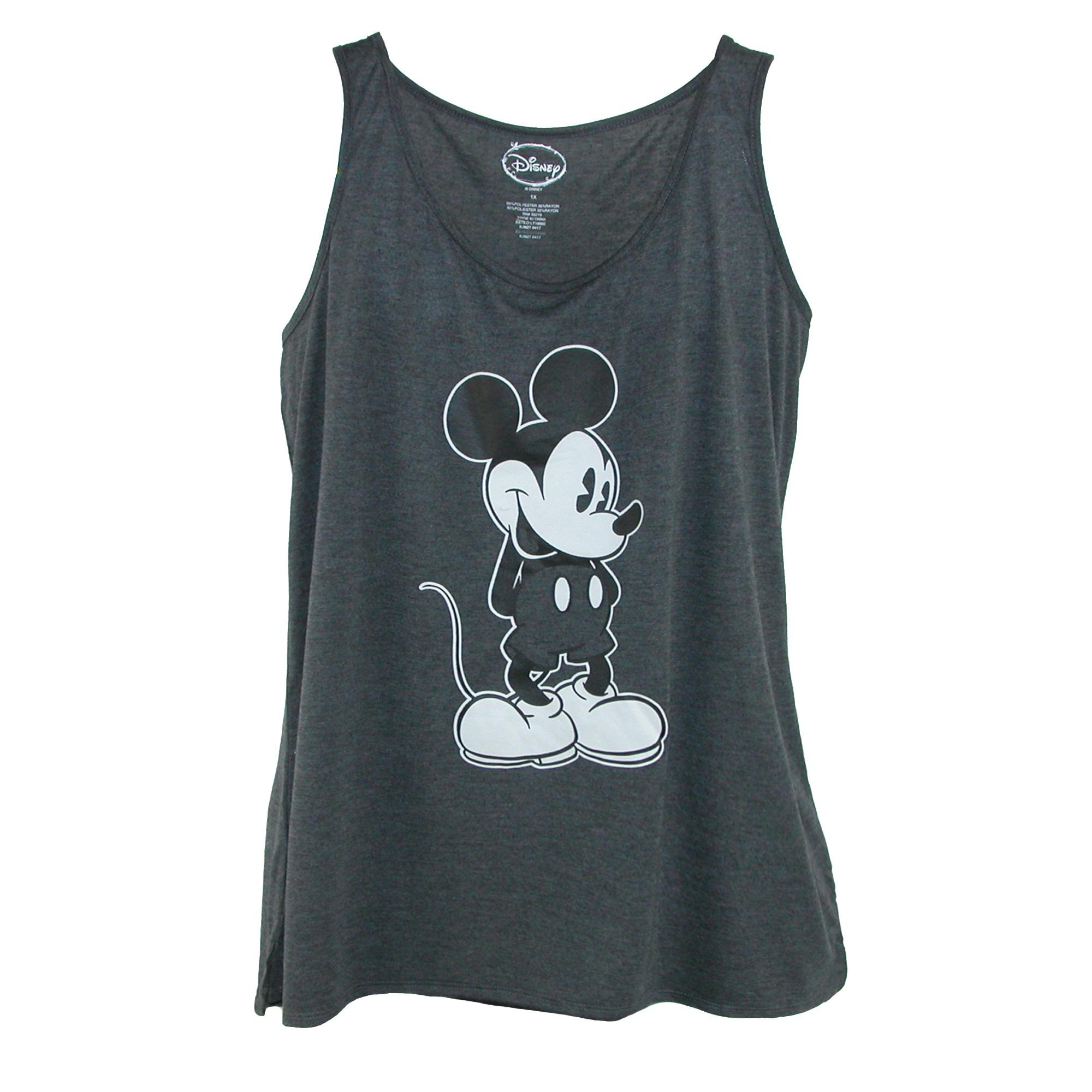 Disney Women's Plus Size Mickey Mouse Tank Top, 2XL, Grey