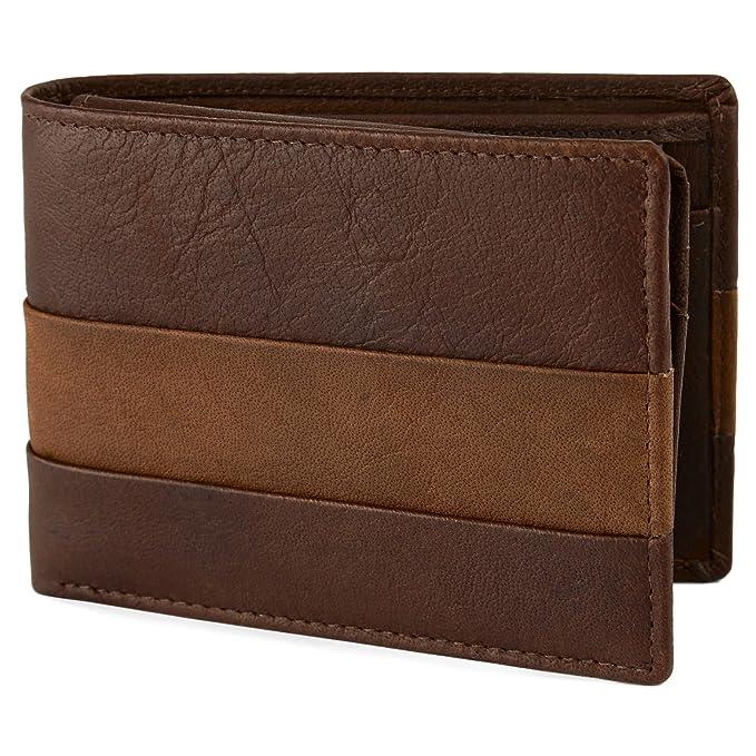 Cartera plisada de cuero marrón y canela Oxford: Amazon.es: Ropa y accesorios