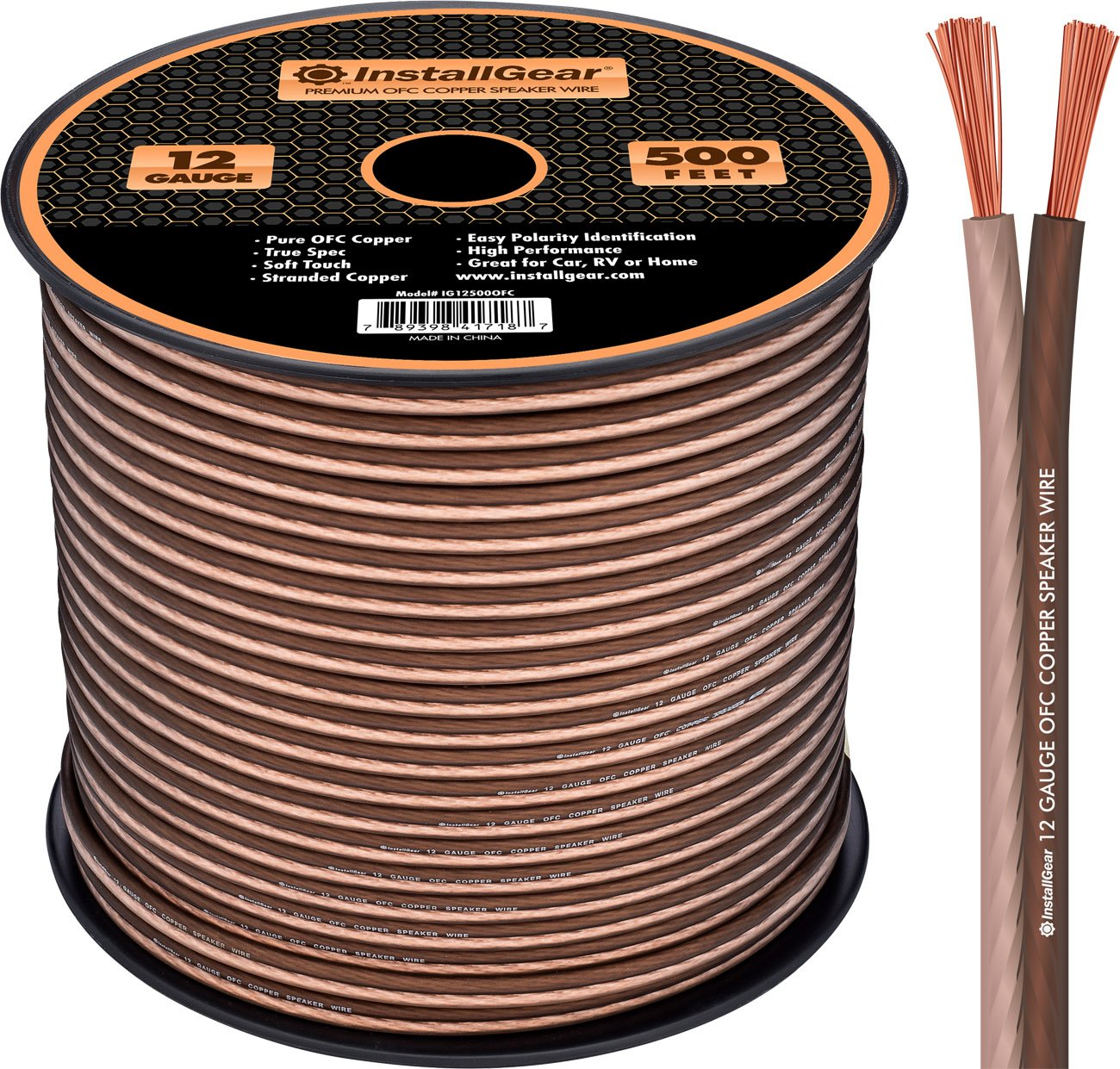 InstallGear 12 Gauge Speaker Wire - 99.9% Oxygen-Free Copper - True Spec and Soft Touch Cable (500-feet) by InstallGear