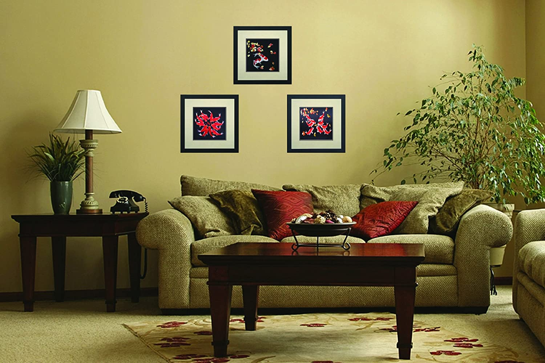 Amazon.com: King Silk Art 100% Handmade Embroidery Framed Twelve Red ...
