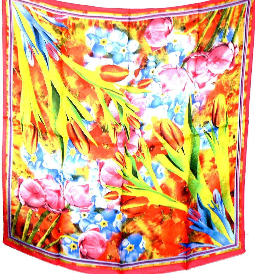 Jingjingart Brand New 100% Jacqard Charmeuse Silk Scarf Shawl Wrap Floral