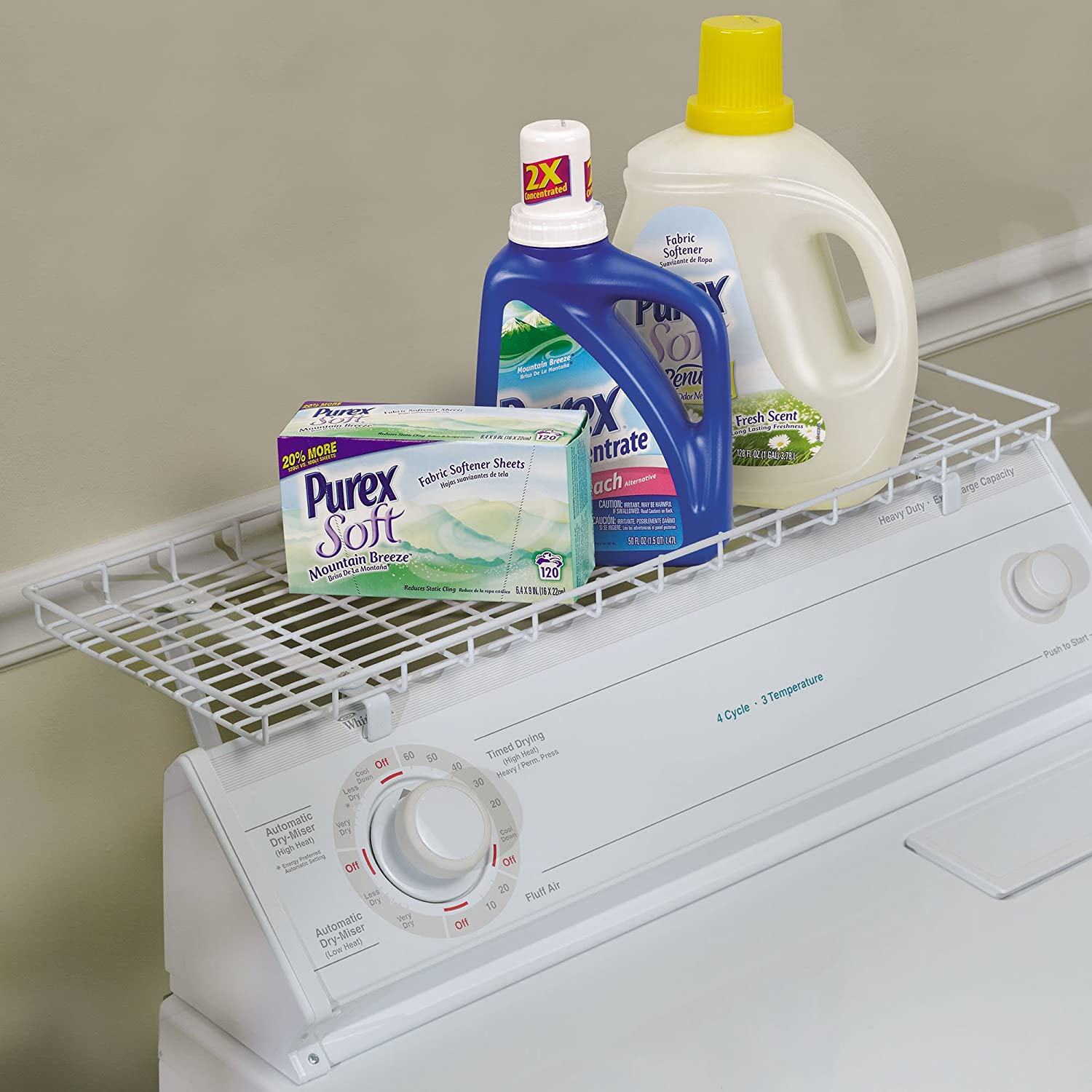 Amazon.com: Household Essentials 05100 Rear Display Over The Washer Storage  Shelf | Organize And Store Laundry Room Supplies | White: Home U0026 Kitchen
