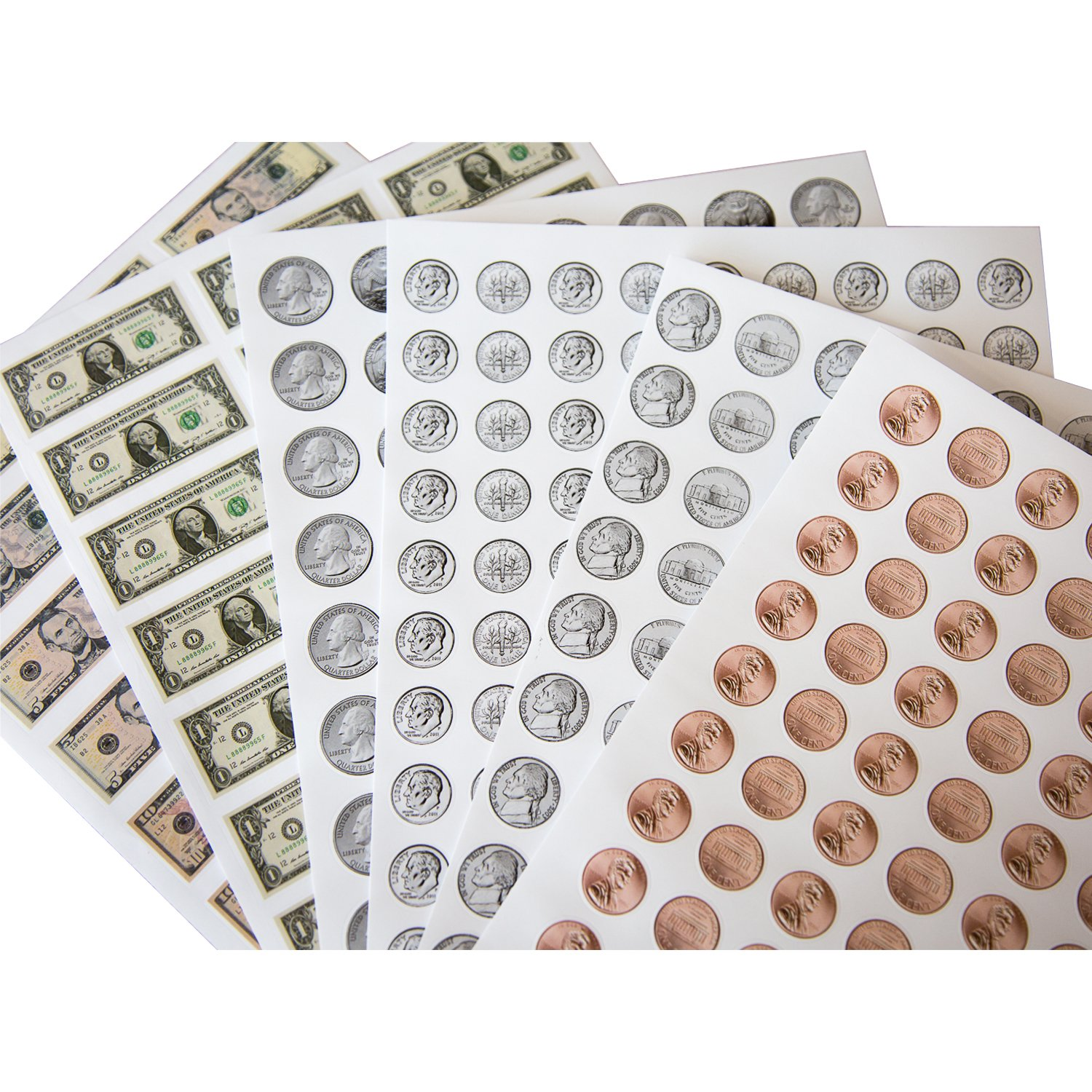 1038 Pieces U.S. Coin & Currency Stickers | For Classroom & Home Use | Extra Strong Adhesive | Realistic Size | 14 Total Sheets | By PureBloom Products by PureBloom Products (Image #1)