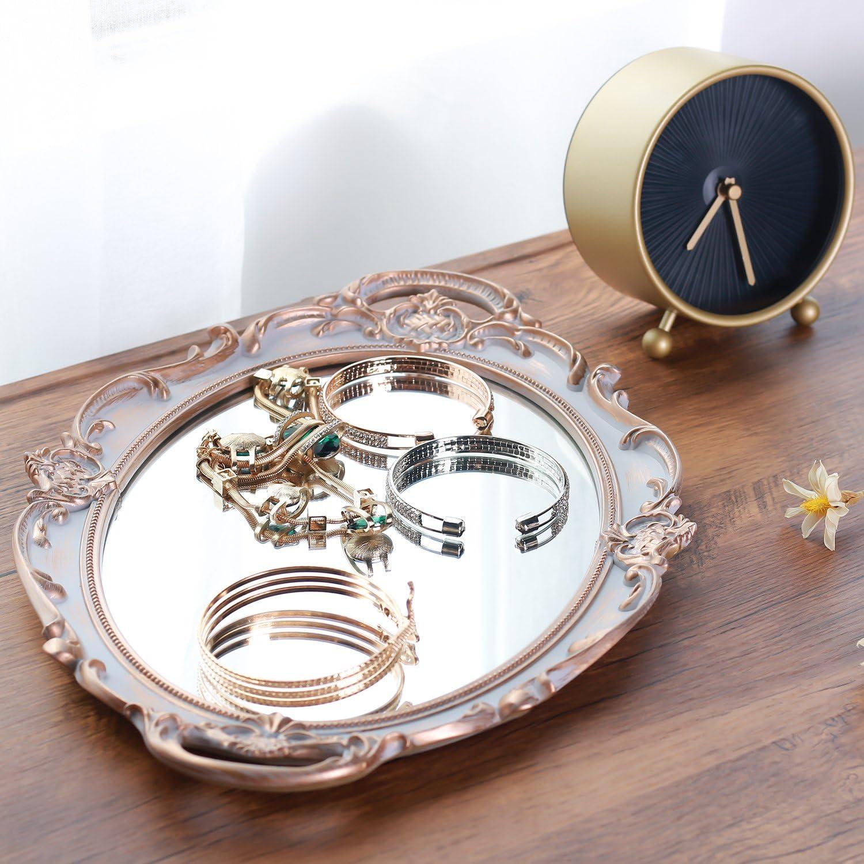 ovalada bandeja de servir de Rumcent Bandeja de pl/ástico con espejo organizador de maquillaje y joyas 24,8 x 36,6 cm con decorado antiguo