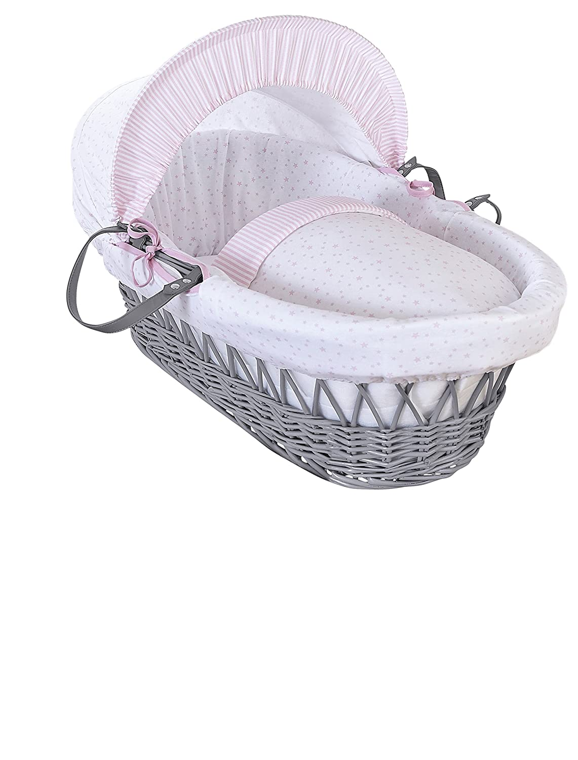 Clair de Lune Stars and Stripes Grey Wicker Moses Basket inc. bedding, mattress & adjustable hood (Grey) CL5811GGY