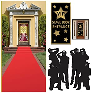 Hollywood Red CarpetAwards CeremonyParty Theme Supplies and Decorating Kit of 3 Items - Red Runner, Paparazzi Props and VIP Entrance Door Cover