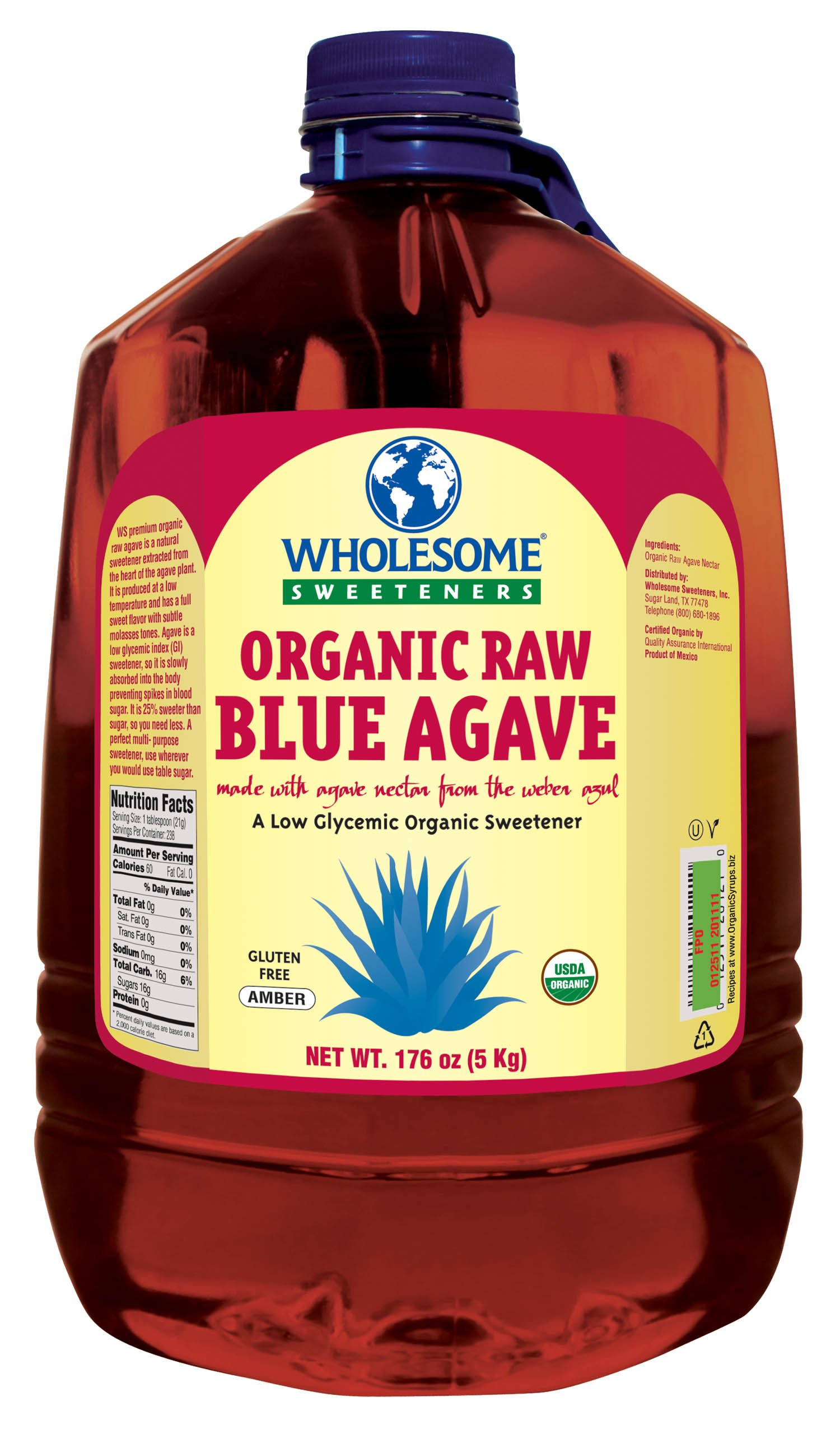 WHOLESOME SWEETENERS Organic Raw Blue Agave, 176-Ounce
