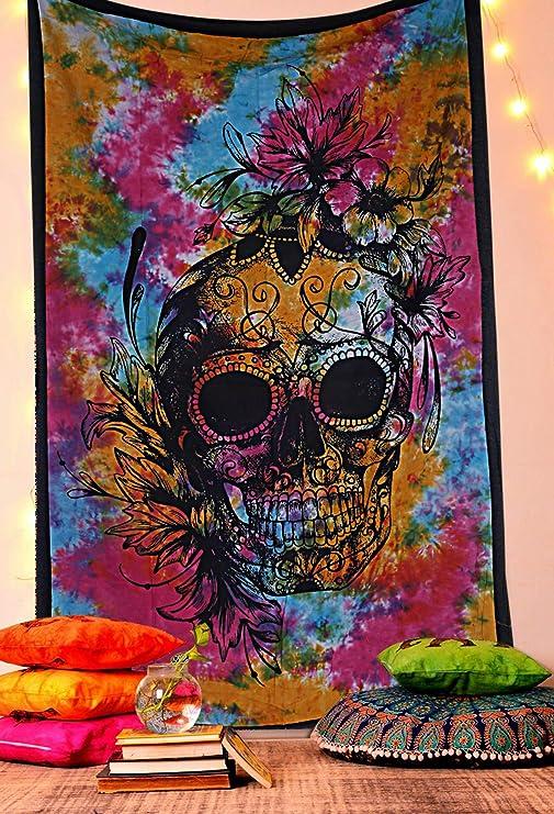 US Ship Mandala Skull Print Tapestry Hippie Wall Hanging Psychedlic Tapestry Dec