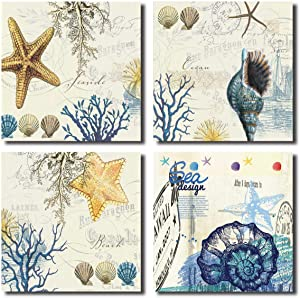 Blue Seashell Starfish Wall Art Decor Contemporary Seascape Canvas Print Painting for Home Bathroom (BLUE, 12x12inchx4pcs)