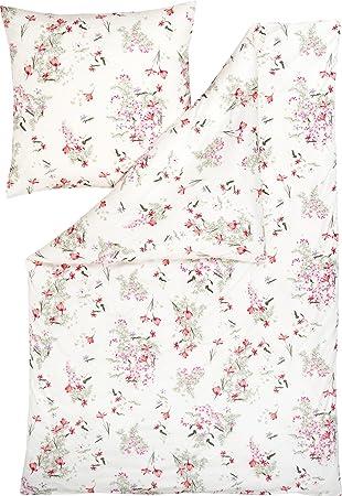 Estella Mako-Satin Bettwäsche Ganja Blumen Rot 135x200 cm 80x80 cm